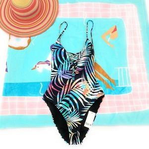 Bar III One-Piece Palm Print Swimsuit Small New